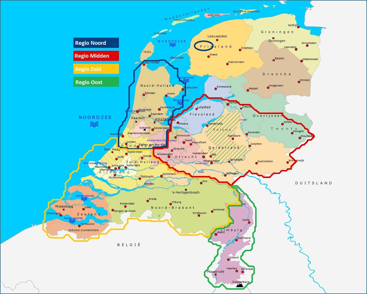 Regio indeling Nederland